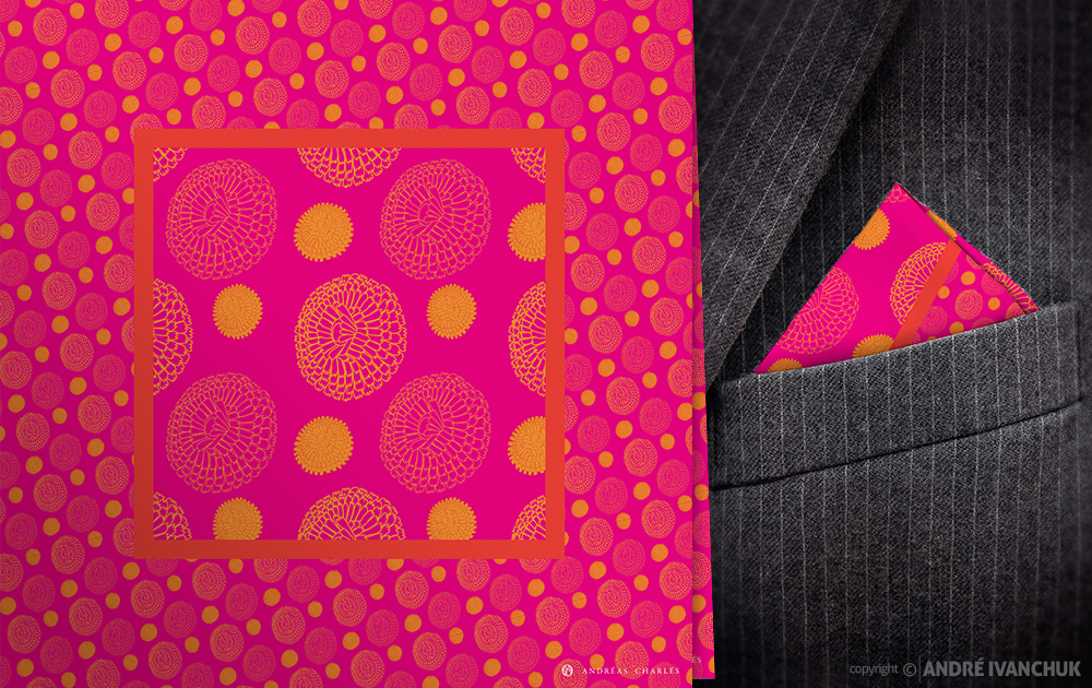 Andreas Charles Merigold Red Square Magenta Pocket Square