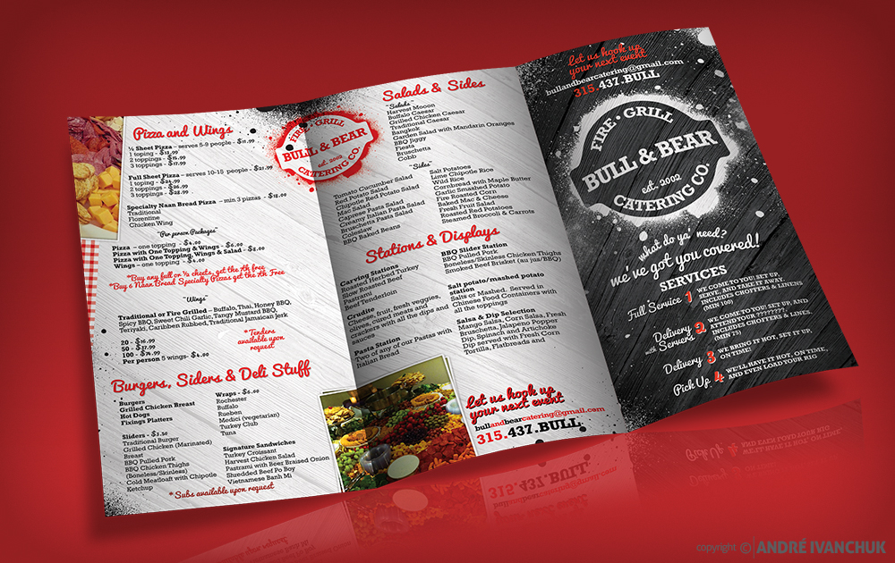 Bull & Bear Catering Menu Design