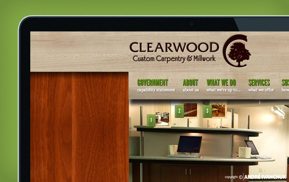 Clearwood Custom Carpentry and Millwok Website Closeup