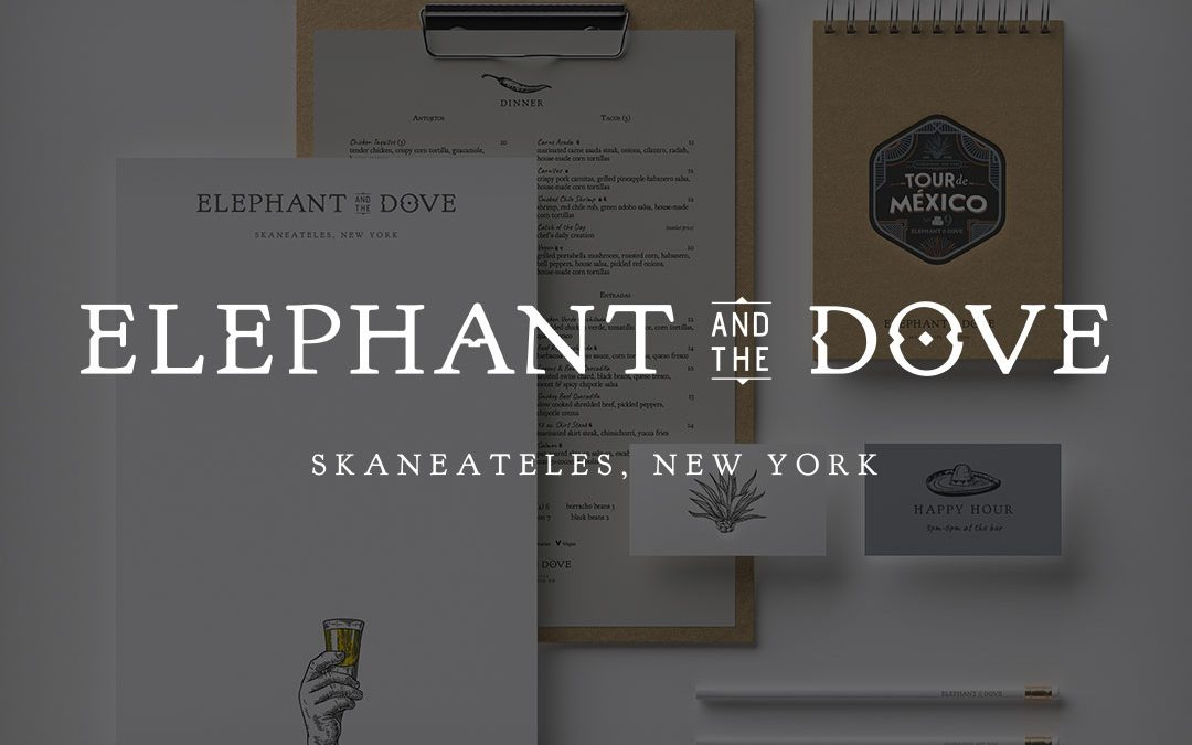 Elephant and The Dove Restaurant Logo Design, Website Design, Sign, Branding, Skaneateles New York