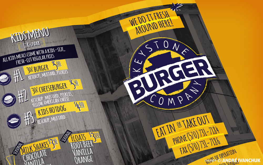 Keystone Burger Company Menu Design