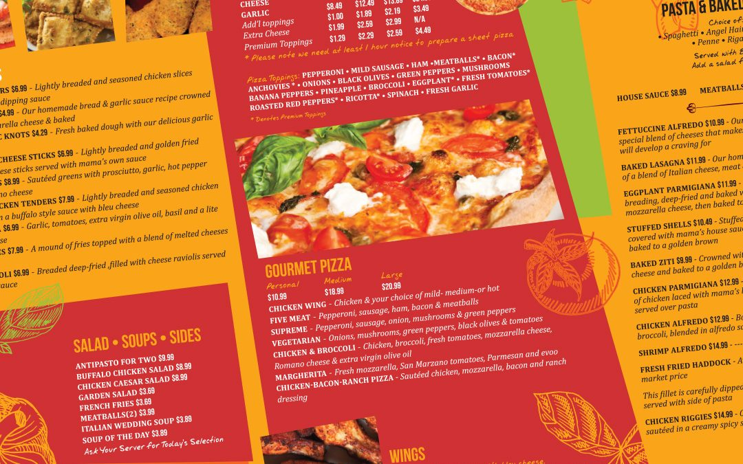 Mama Gina's Ristorante and Pizzeria Menu Design