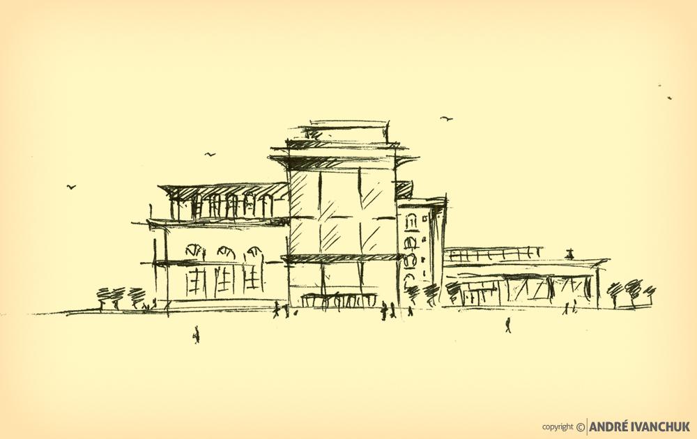 Palm Gardens Development Building Architectural Design Mix Use Concept Sketch