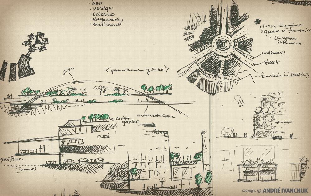 Palm Gardens Development Building Architectural Design Mix Use Options Sketches 3