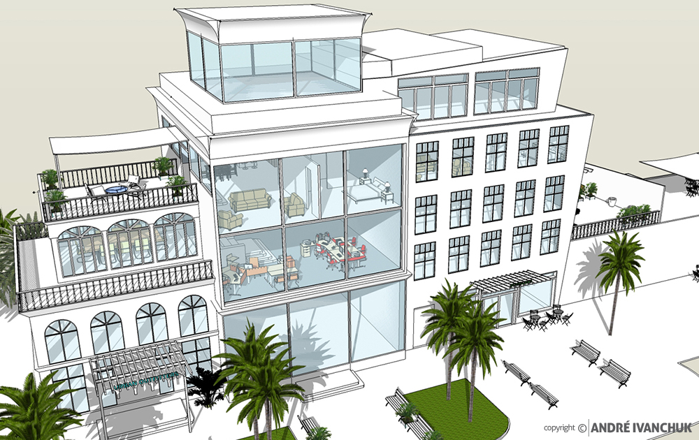 Palm Gardens Development Building Architectural Design Mix Use Rendering 2