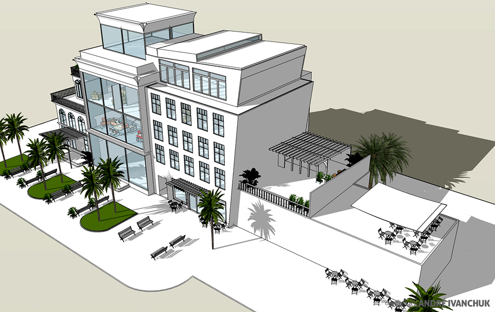 Palm Gardens Development Building Architectural Design Mix Use Rendering