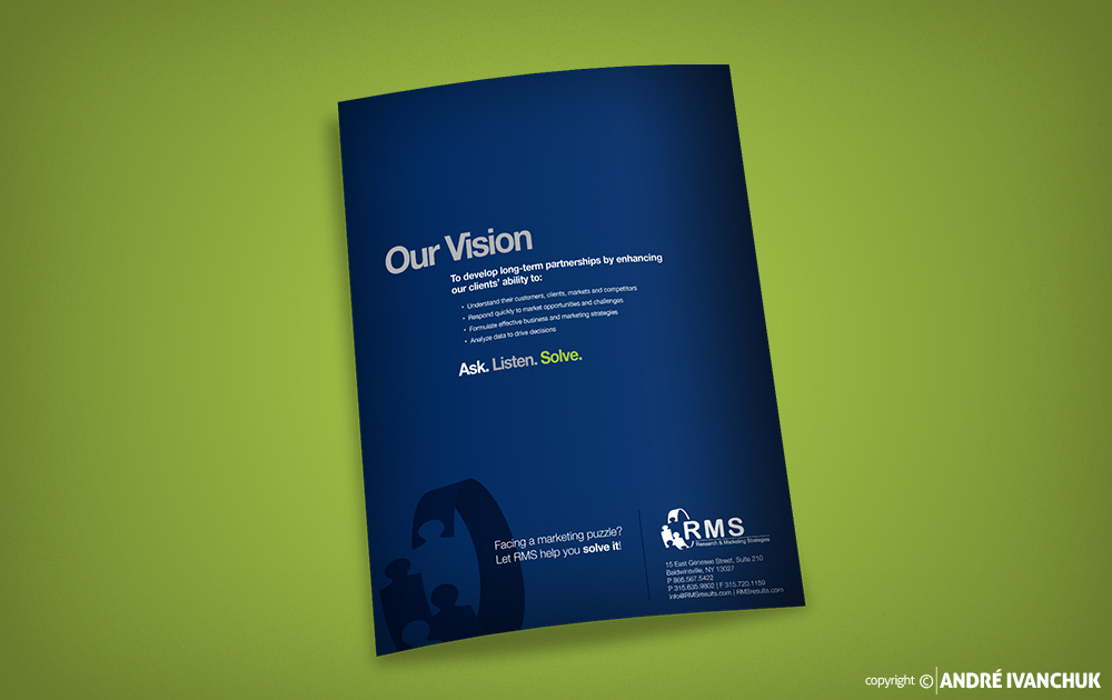 Research Marketing Strategies RMS Presentation Folder Design Back