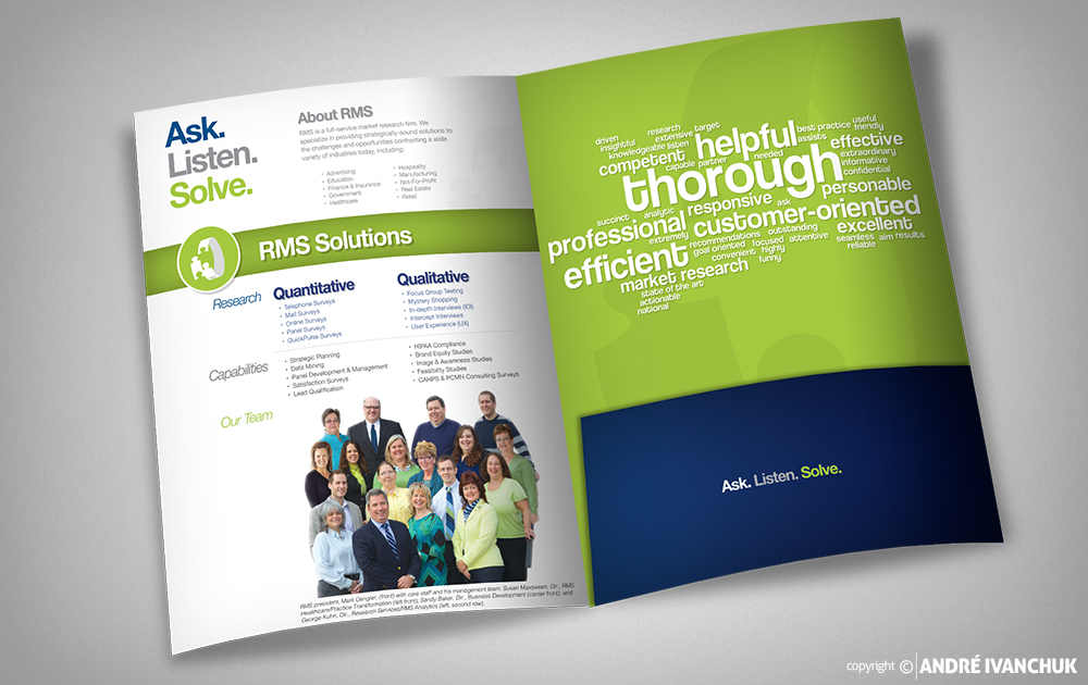 Research Marketing Strategies RMS Presentation Folder Design Inside