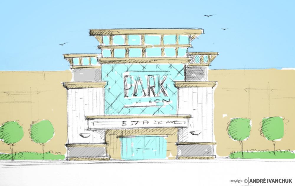 Shops At Beachside - Storefront Entrance Design Elevation Sketch