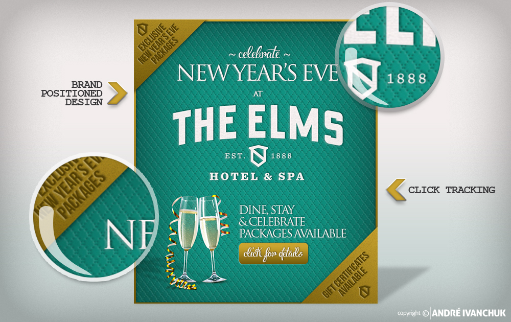 The Elms Hotel and Spa New Years Email Design