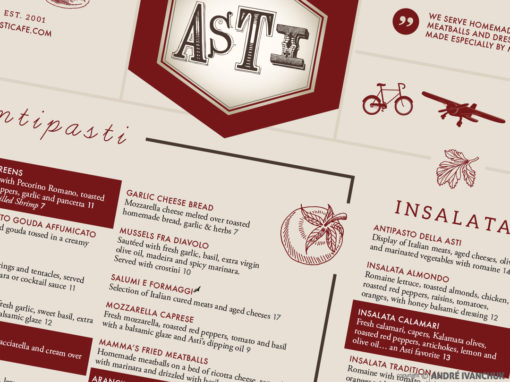 Asti Caffe Syracuse Menu Design