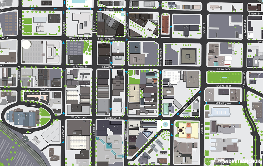 downtown committee of syracuse syracuse map closeup