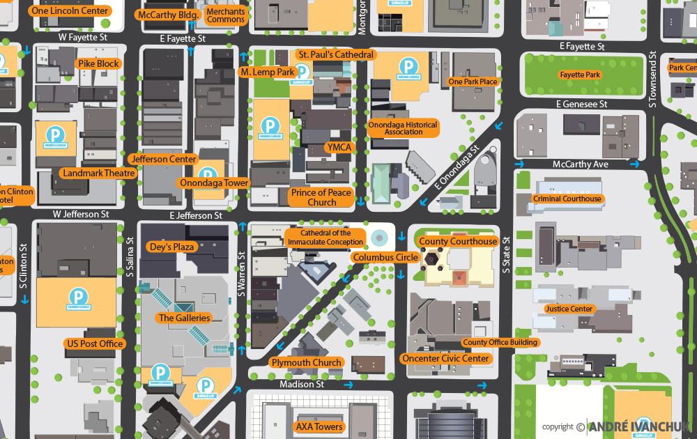 downtown committee of syracuse syracuse map markings