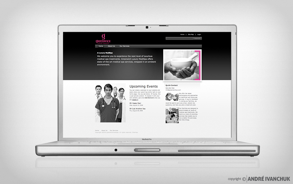 greenwich luxury spa branding website