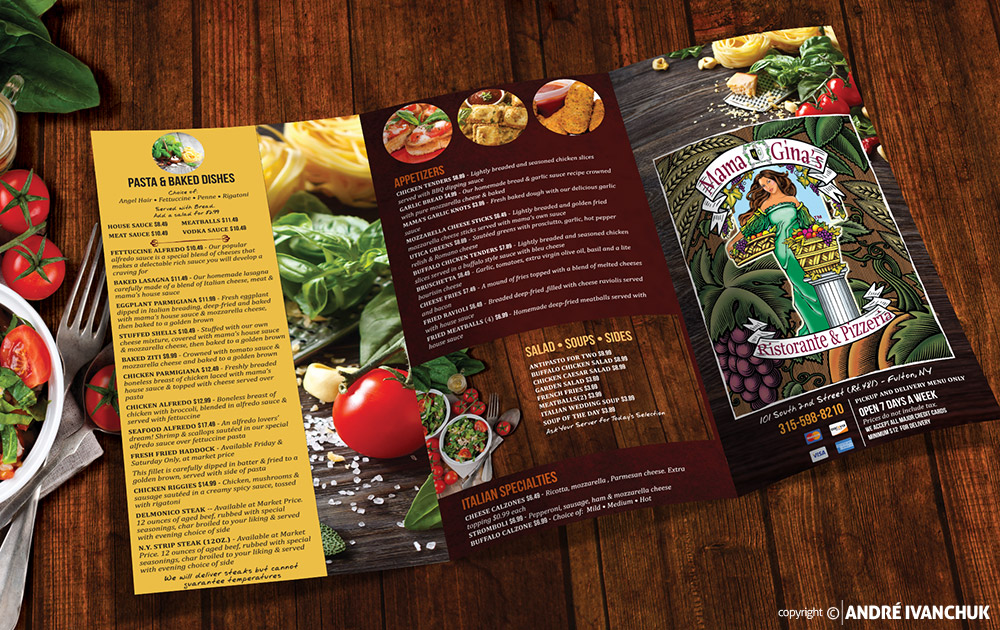 Mama Gina's Pizzeria Menu Design