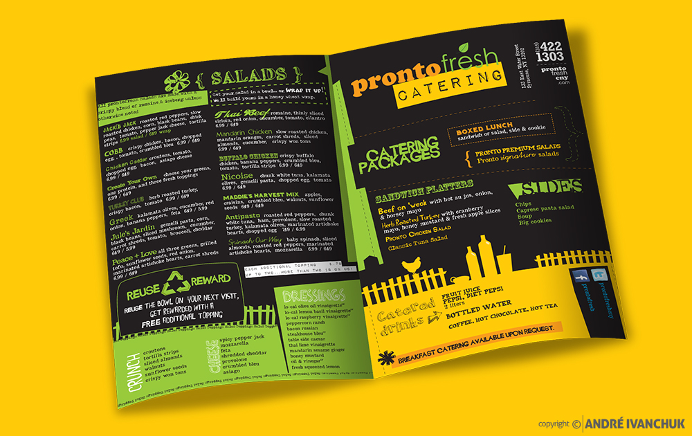 pronto fresh menu design insides