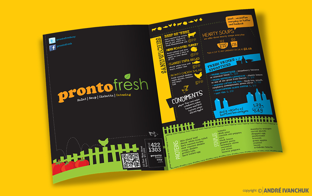 pronto fresh menu design